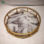 Handmade Gilt Round Marble Serving Tray With Handle