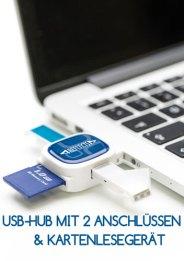USB-Hub mit 2 Anschlüssen und Kartenlesegerät