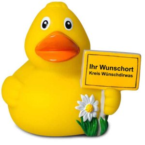Werbeartikel Quietscheente City Duck Wunschort