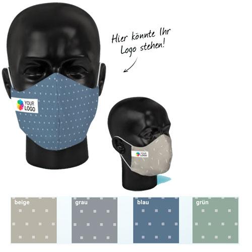 Fertige Designvorlage für Gesichtsmasken mit Logo bedruckbar