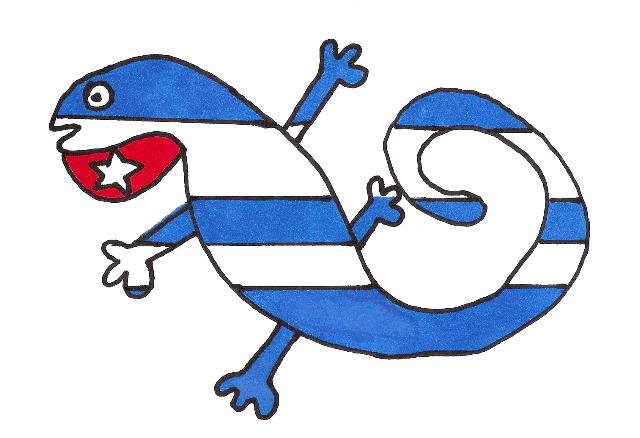 CUBATIJA ENAMORADA, la Bandera de ABRACALIBRO, idea de Josan Caballero, ilustrada por Piero Gemelli.