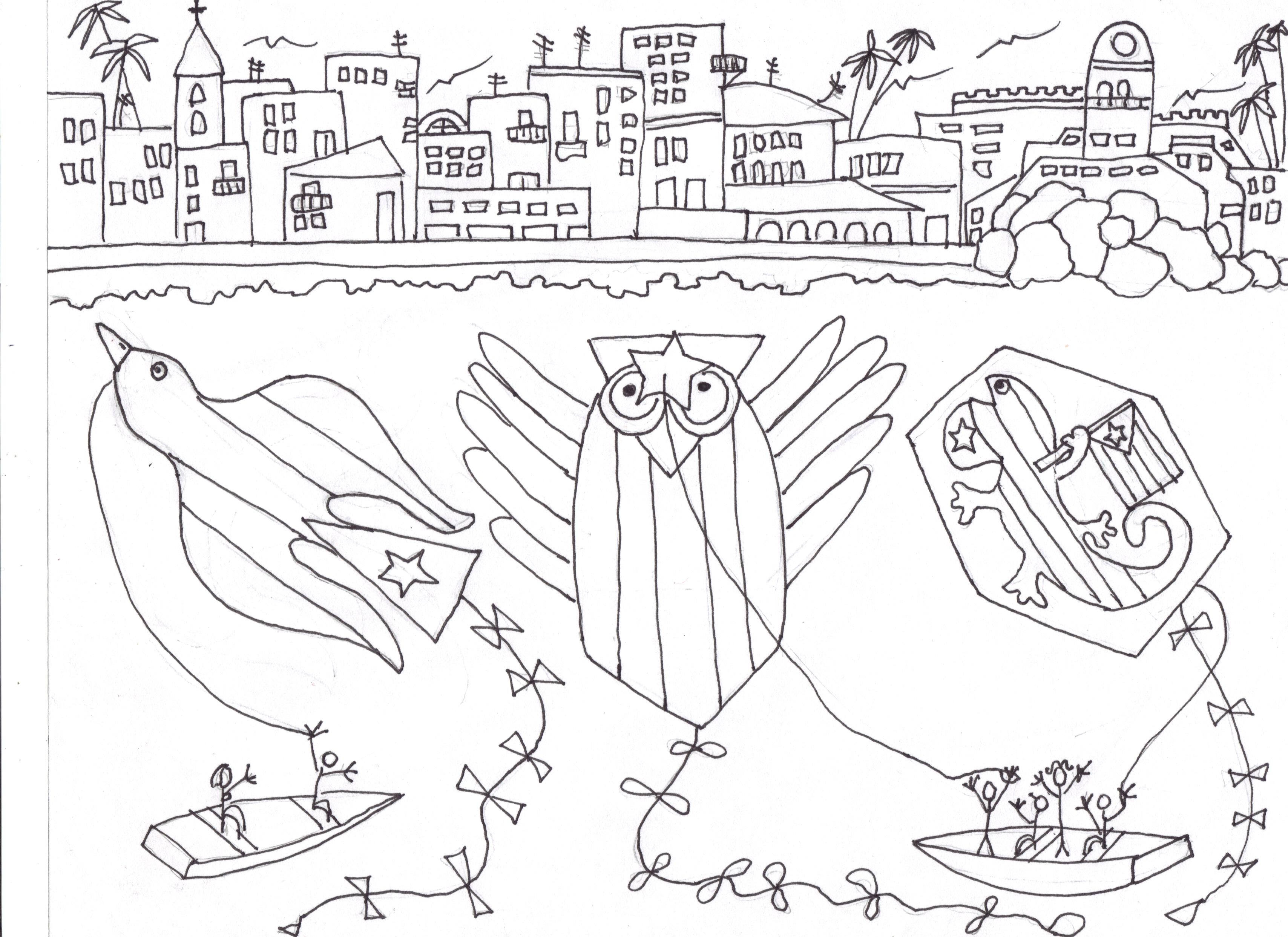 Mis Papalotes con banderas sin pintar, diseño de Josán Caballero, y realización de él con Piero Gemelli, el amigo e ilustrador italiano, que le ha prestado hasta sus colores, para que Josán culmine su labor, según la Libertad ordena, y Cuba manda.
