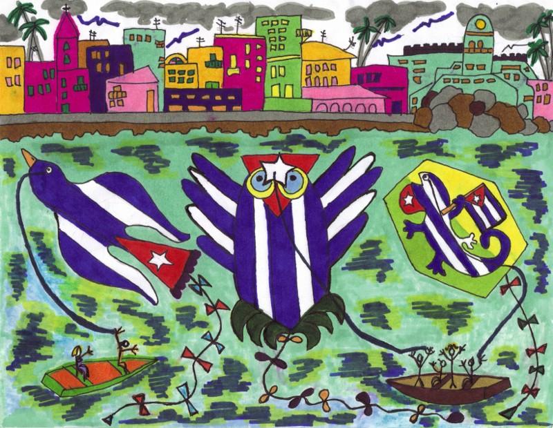 Mis papalotes banderas en La Habana, por Josán Caballero.