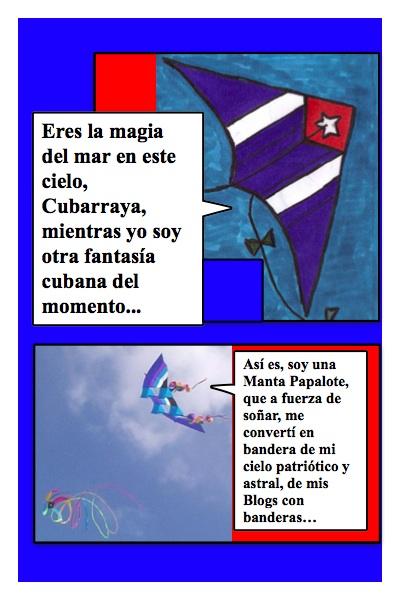 Versión del Papalote con Bandera invertido del Blog con Banderas, hecha por Piero y Josán, con historieta de Josán Caballero.