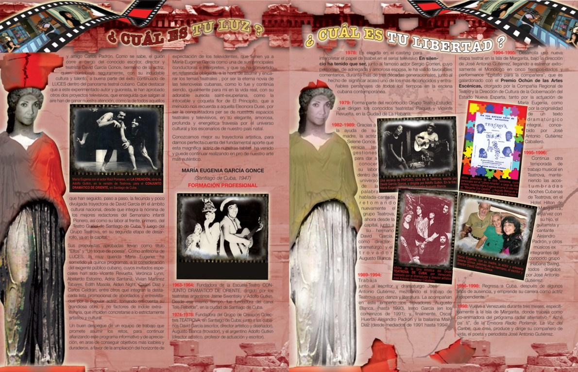 ESCENOFERIA, la segunda parte de la Sección sobre las actuaciones de María Eugenia García Gonce, idea dramatúrgica para el diseño de páginas, por Josán Caballero.