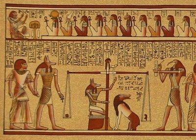 Pergamino egipcio, presente en el Libro de los Muertos...
