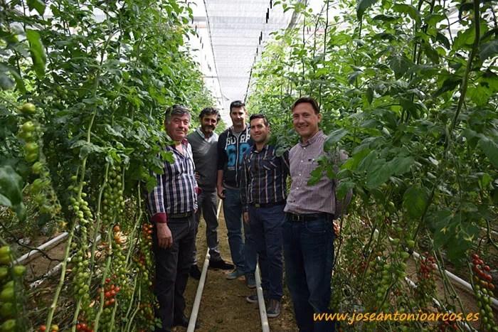 Agricultores de Níjar, Fidel y Juan padre e hijo Blanes; con miembros de Sistemas de Calor, Adolfo Agustín y Antonio Cambil.