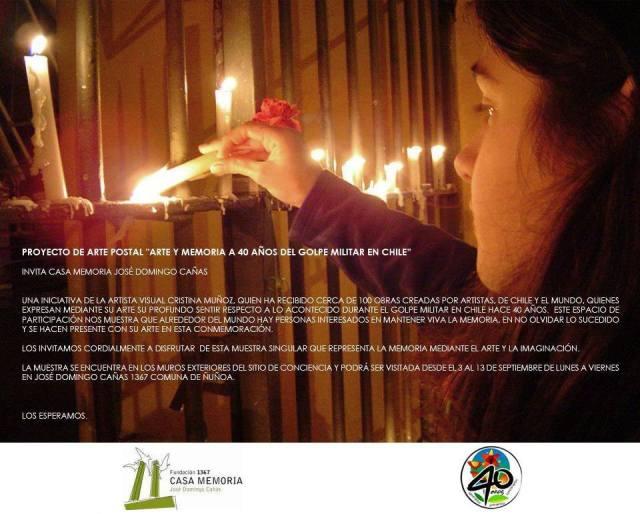 """Invitación """"Arte y Memoria a 40 años del Golpe Militar en Chile"""""""