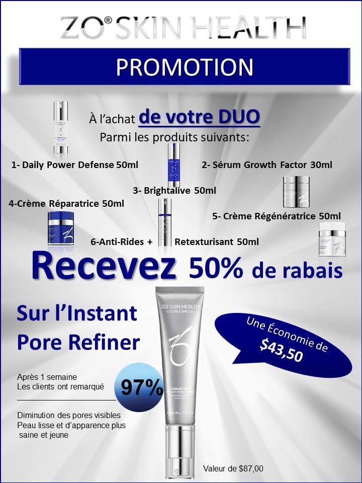 ZO SKIN HEALTH - promotion Instant Pore Refiner - Josée Dubé Spa Urbain - Rosemont - Montréal