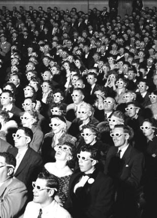 Salle de cinéma - Spectateurs avec lunettes 3D