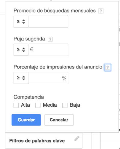 Filtros a aplicar en el planificador de palabras clave de Google Adwords