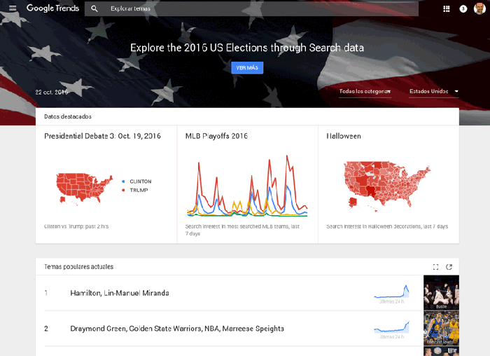 Pantalla principal en Google Trends