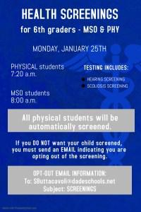 6th Grade Health Screenings