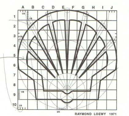 Boceto de Raymon Loewy para el rediseño de Shell.