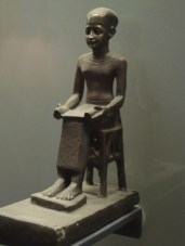 A statue of Imhotep in the Louvre. Joseph of the Bible and Imhotep were most likely the same person.