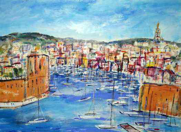 A57: The Old Port at Marseilles | £250 l Acrylic l 37 x 27 cms