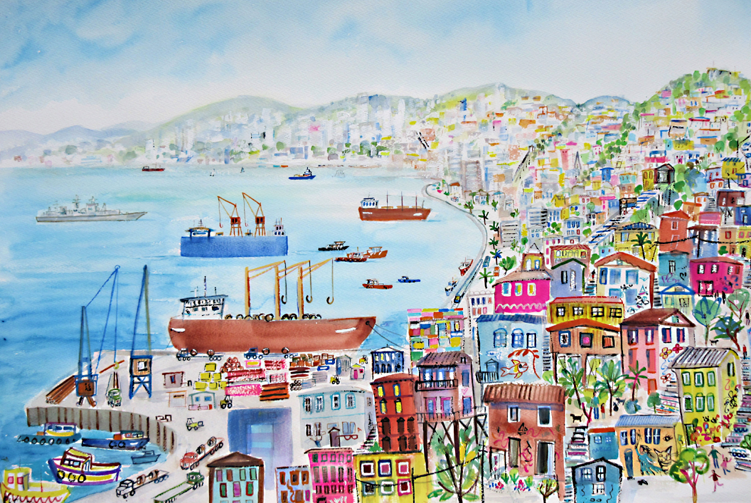The Habour and the Cerros, Valparaiso