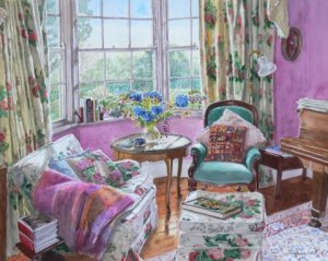 Hydrangeas in the Music Room watercolour 16 x 20 - SOLD
