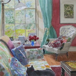 "Midsummer in the Study, Bunclody  watercolour  16"" x 16"""