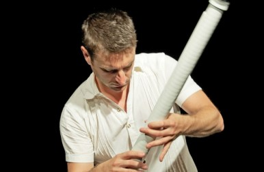 Composer/performer D. Andrew Stewart playing a soprano T-Stick. Photo by Vanessa Yaremchuk.