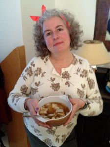 Cousin Evelina bedecked with ribbons and onion gravy.