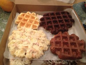Rob brought breakfast: a variety of Belgian waffles (made with pearl sugar).