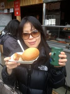 Akemi ready to indulge in some currywurst.