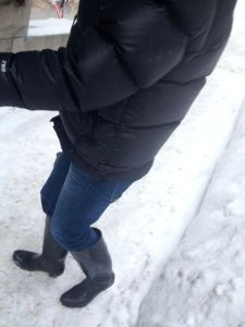 Note the rain boots - perfect for rainy days.  Terrible for walking on icy sidewalks and keeping your feet warm.