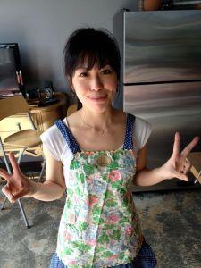 Akemi, as always, travels apron-ready.
