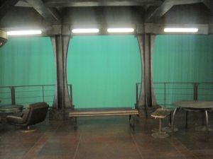 The green screen view off the observation deck