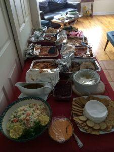 Roast turkey, lasagna, shrimp, salads.