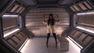 Akemi in the containment chamber.
