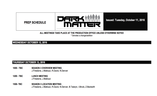 October 12, 2016: And So It Begins!  Dark Matter Season 3!