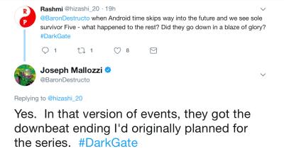 Joseph Mallozzi's Weblog--Dark Matter
