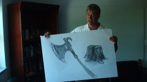 James Robbins shows off some of his work