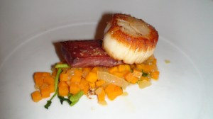 Seared scallop and corned beef tongue