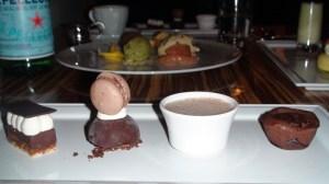 Fondant, Parfait, Macaron, Custard, Feuilletine Cake.