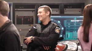 Brian J. Smith (Lt. Matthew Scott) relaxes on the Icarus set.