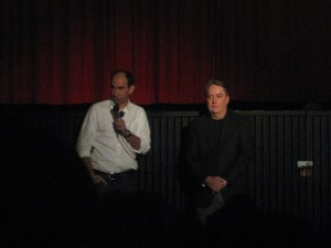 """Show Creators/Executive Producers Robert Cooper and Brad Wright give a speech before the screening.  """"The blue honda hatchback, license number 987 DFJ - you are parked in a fire lane.  You WILL be towed!"""""""