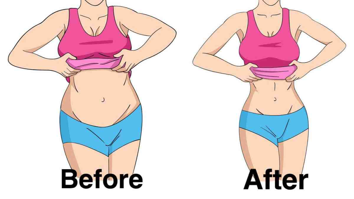 Before and After loosing Stubborn Belly Fat