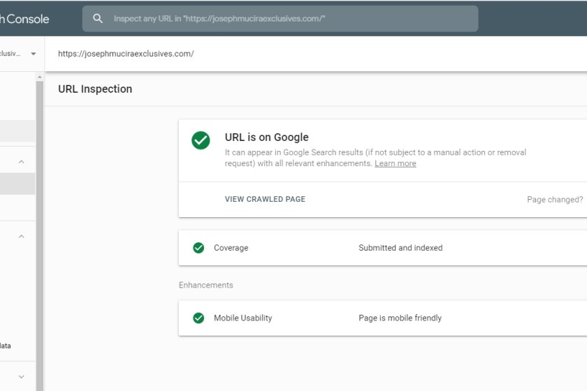 Google Search Console URL Index Coverage