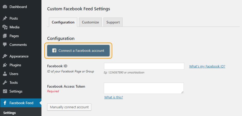 Custom Facebook Feed Settings