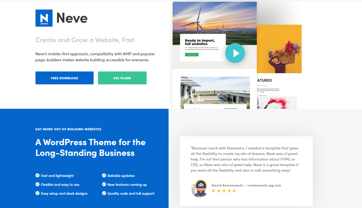 What does Neve WordPress Theme offer?