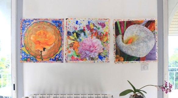 Three New Watercolors on Studio Wall, June 2018