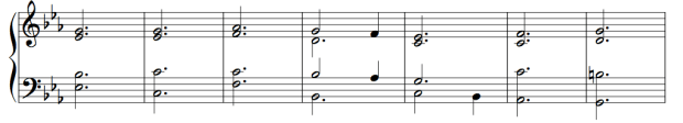 Ex. 4a. Imaginary continuo in choral spacing