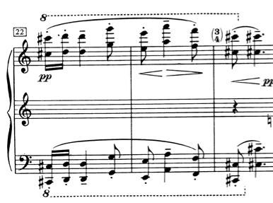 Ex. 3: Elaboration on the contrasting melody. Bars 22-24