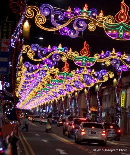 The whole stretch of road is lit with colorful Deepavali lights