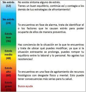 tabla en la que describen y clasifican los niveles del estrés.