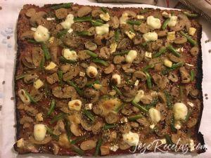 pizza vegetariana de lentejas