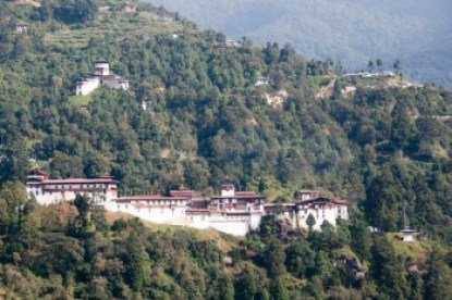 Bhutan - Trongsa Dzong and Da Dzong watchtower.